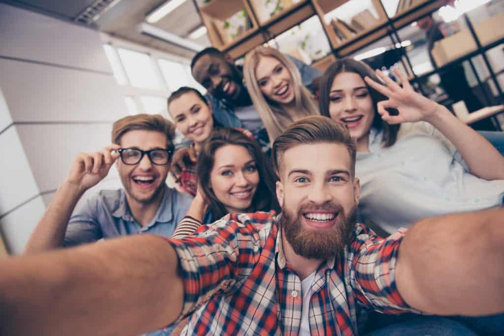 Group selfie after team building escape room
